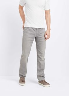 This classic 5-pocket construction has a low-rise cut that fits slim through the hip and thigh for a tailored look. With its light grey wash, they are wearable on-duty or off. Brand: Vince Retailer: Vince Similar Item Here  Price : 225.00$