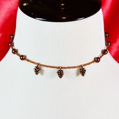 Bronze Three-Pinecone Memory Wire Charm Choker