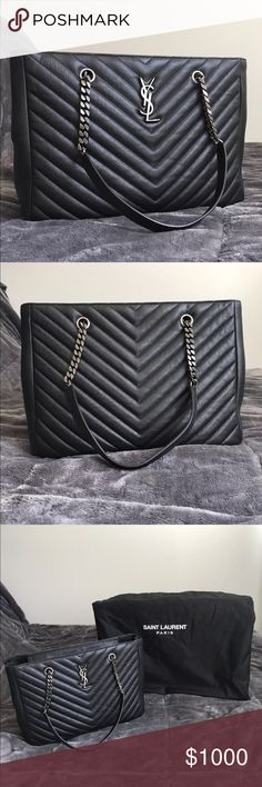 YSL Monogram Large Chevron Shopper Bag All of our products are 100% authentic!!!! If interested in our products please contact our representative for more precise information on our products.   (347) 802-8159 🔴WE DONT ANSWER TO COMMENTS SO TEXT US🔴 Yves Saint Laurent Bags Totes