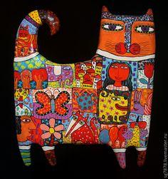 Кот смотрящий - коты,подарок,Керамика,глина,гламур,искусство,скульптура