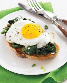 Easy Eggs Florentine with Baby Spinach and Goat Cheese  No need to wake up early to make a nice brunch: Spinach pairs with crumbled goat cheese instead of a complex sauce, and the eggs are quick-fried, not poached.  Everyday Food, April 2008