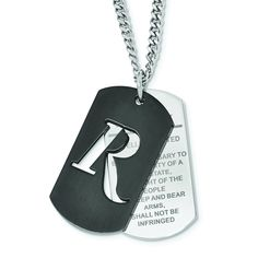 REMINGTON stainless steel 2nd Amendment double dog tag black IP. Liberty Collection by Hunter's Jewels. Officially licensed product.