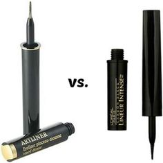LIQUID EYELINER DUPE~HIGH END vs DRUGSTORE. Lancome Liquid Artliner Eyeliner Pen vs. L'oreal Lineur Intense. The formulas are basically the same, but the brush/applicator on the L'Oreal version is superior.