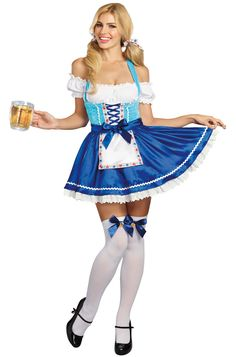 Ring in Oktoberfest in this sexy Happy New Beer Fraulein costume. This festive costume includes an off the shoulder dress with lace up bodice, an attached apron to protect your dress from your frothy brew, and fun bow stocking toppers with festive be German Costume, Oktoberfest Costume, Off The Shoulder, Shoulder Dress, Lace Dress, Dress Up, Festival Outfits, Adult Costumes, Happy New