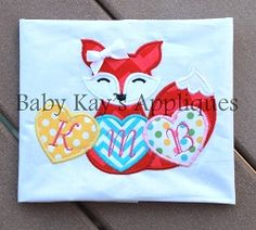 Valentine Fox Applique - 2 Sizes! | Valentine's Day | Machine Embroidery Designs | SWAKembroidery.com Baby Kay's Appliques