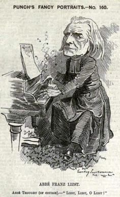 """Franz, Ritter von Liszt (1811-1886), caricature (1883), by Linley Sambourne (1844-1910), published in """"Punch"""", volume 85, page 215."""