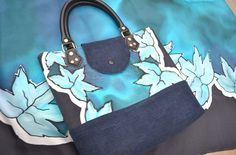 Hand painted scarf with matching handbag. Mixture of hand painted silk and denim.  Talento by Yara Sekiguchi www.talentosilkandpaperart.co.uk