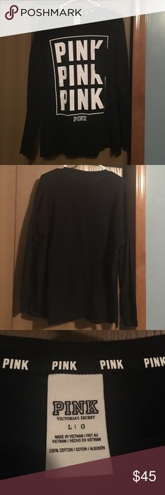 Victoria secret pink long sleeve size L Black long sleeve comfy top😊🌸!! Wore once then hung dry! Size large cute top! Make offer!!😊🌟 PINK Victoria's Secret Tops Tees - Long Sleeve