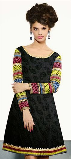 419890: #Kurti, #Pashmina, #Lace, Resham.  #tunic #modfashion #paisley #black #onlineshopping #sale #onlinegifts