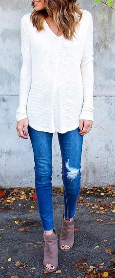 #cute #outfits White V-neck Blouse // Ripped Skinny Jeans // Ankle Boots
