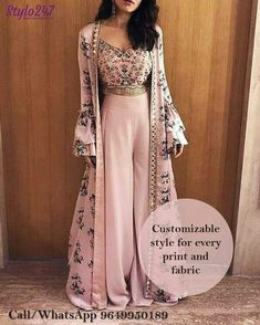 indian designer wear The Stylish And Elegant Jecket Suit In Pastel Pink Color Looks Stunning And Gorgeous With Trendy And Fashionable Printed,Lace Work,Mirror Work .The Silk Fabric Party Wear Jacket Suit Looks Extremely A. Indian Fashion Trends, Indian Designer Outfits, Indian Fashion Modern, Designer Punjabi Suits, Indian Fashion Salwar, New Designer Dresses, Indian Designers, Indian Gowns Dresses, Pakistani Dresses
