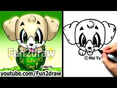 Creative Drawing Labrador Retriever Lab Puppy How to Draw a Dog for St Patricks Day Cute Art - Labrador Retriever - Lab Puppy - How to Draw a Dog for St Patrick's Day - Cute Art - - Just Labrador Realistic Drawings, Cartoon Drawings, Easy Drawings, Animal Drawings, Labrador Retriever, Puppy Drawing, Kawaii Doodles, Christmas Puppy, Videos