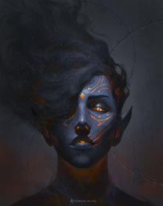 ArtStation - The Efreet, Robson Michel ifrit fire creature blue skin and glowing eyes and rune tattoos / markings female character inspiration Fantasy Character Design, Character Design Inspiration, Character Art, Character Concept, Character Ideas, Dnd Characters, Fantasy Characters, Dark Fantasy, Fantasy Art