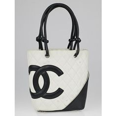 Pre-owned Chanel White/Black Quilted Ligne Cambon Small Tote Bag