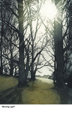 Morning Light - A wonderful light captured one late winter morning whilst out walking the dog near Felixstowe. Image size x Edition size 70 Chrissy Norman Etching Prints, Art Graphique, Wood Engraving, Woodblock Print, Tree Art, Les Oeuvres, Printmaking, Landscape Paintings, Illustration Art