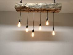 Reclaimed Barn Beam Wood Light Fixture w/Edison bulbs Rustic Industrial Farmhouse Chandelier Lighting by 7MWoodworking on Etsy