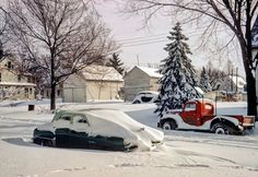 """""""Our new car in snow -- March 23, 1952."""" Hubert and Grace's green DeSoto stars in this latest episode of Minnesota Kodachromes."""