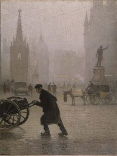 Albert Square, Manchester - Pierre Adolphe Valette, 1910. Manchester Art Gallery, Manchester UK #valette