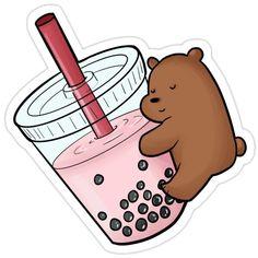 We bare bears grizzly drinking milk tea Cartoon Stickers, Kawaii Stickers, Cool Stickers, Printable Stickers, Cute Panda Wallpaper, Bear Wallpaper, Cute Disney Wallpaper, Image Clipart, Preppy Stickers