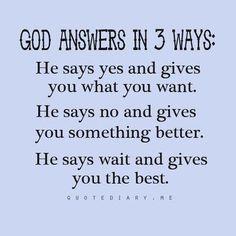 """God Answers In Three Ways..."""