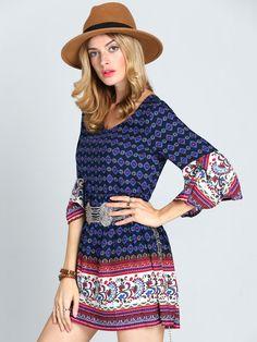 Multicolor Textured Round Neck Vintage Print Dress