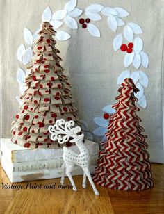 LOve these burlap trees!  Handmade Christmas Trees  from VintagePaintandMore.com