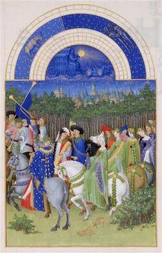 Le mois de Mai. Jean et Hermann Limbourg. Les Très Riches Heures du duc de Berry (1411-1416) le Calendrier.