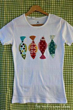 Samarreta peixets les mil i una idees: Scandinavian Stitches Shirts & Tops, Cool Shirts, Tee Shirts, Diy Clothing, Sewing Clothes, Sewing For Kids, Baby Sewing, Fabric Fish, Diy Vetement