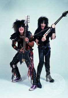 Nikki Sixx and Mick Mars of Motley Crue, USA 1984 by Mark Weiss www.RockPaperPhoto.com