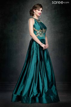 SEA GREEN SILK GOWN WITH STONE WORK
