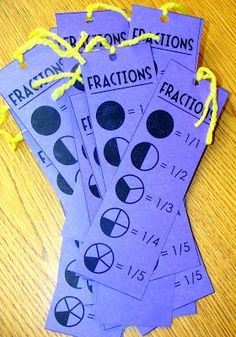 Ridiculously Simple DIYs Every Elementary School Teacher Should Know Make fraction reference cards that double as bookmarks.Make fraction reference cards that double as bookmarks. Teaching Fractions, Math Fractions, Teaching Math, Teaching Ideas, Primary Teaching, Fun Math, Math Activities, Fraction Activities, Fraction Games Ks1