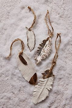 Gold-Flecked Feather Ornament - anthropologie
