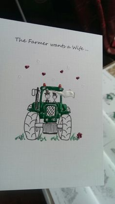 Tractor Happy Couple wedding stationery. Painted in colours to suit your farmer's favourite machine!