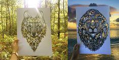 illustration transparent nature wolf lion forest sea shore green grass gold Faye Halida