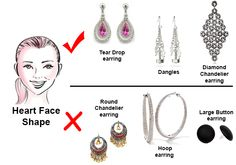 Selecting the most flattering earrings styles based on your face shape. Here are examples for a Heart Shape Face. Face Shapes, Body Shapes, Heart Shapes, Heart Shaped Face Haircuts, Haircut For Face Shape, Heart Face, Face Earrings, Face Tips, Diamond Drop Earrings
