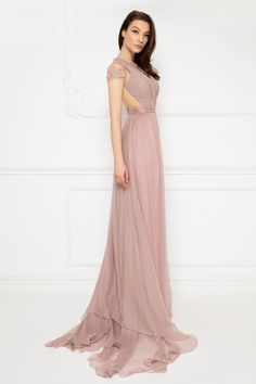 Cristallini - Embroidered Deep V-Neck Pleated A-Line Dress - Enter the hall with grace and beauty in this stunning dress by Cristallini This beautiful d - Wedding Dresses 2014, Bridesmaid Dresses, Gala Gowns, Light Pink Color, Evening Dresses, Formal Dresses, Pleated Bodice, Pageant Dresses, Stunning Dresses