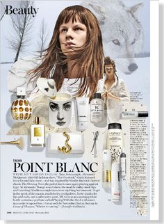 Beauty Trend: Point Blanc. Clipped from Marie Claire Nov 2013. White perfumes: Jimmy Choo White Edition Eau de Parfum (Nordstrom $150/Dec 2013) and By Kilian's Playing with the Devil (Saks $245)