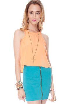 Zippity Doo Dah Skirt in Turquoise $18 at www.tobi.com