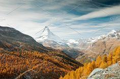 Autumn Matterhorn peak, Switzerland by ekaterinagrivet on @creativemarket
