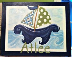 Personalized Nautical Sailboat Art On Canvas by LilBeesArt on Etsy, $55.00