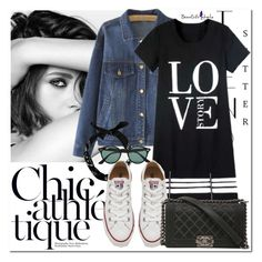 """""""CHIC ATHLETIQUE"""" by valentina-agnese ❤ liked on Polyvore featuring Chanel, Converse, Ray-Ban, women's clothing, women, female, woman, misses, juniors and converse"""