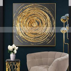 Gold Abstract Circles Canvas Painting for just $41.62. (New Customers Visit & Like Us Today for Immediate Store Credit & FREE SHIPPING.) #interiordesign #interiorstyle #homedesign #homegoods #modernart #artforsale #homeadore #modernhome #instadaily #homedecor