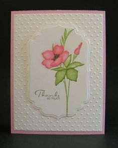 handmade thank you card from Reddyisco ... clean and simple ... mostly white on a pink card base ... luv the contrast of textures from embossing folder dots on background to smooth fancy label die cut focal point ... watercolor look to flower ... sweet card!