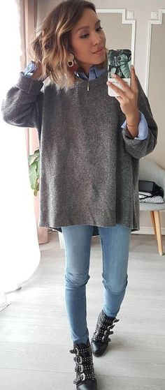 #spring #outfits gray sweat shirt. Pic by @eninad42