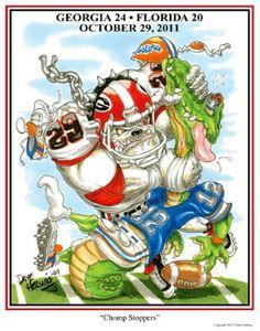 "UGA print featuring Jarvis Jones entitled ""Chomp Stoppers"" by Dave Helwig @ BetweenTheHedgesS... UGA DAWGS Georgia Bulldogs Football"