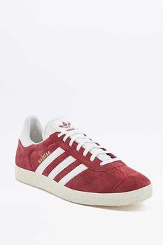 Shop adidas Originals Gazelle Maroon Suede Trainers at Urban Outfitters today. Grey Trainers, Suede Sneakers, Adidas Sneakers, Adidas Gazelle Women, Streetwear, Baskets Adidas, Adidas Originals, Sportswear, Sports