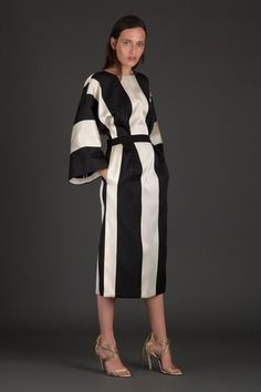 ALBINO TEODORO BLACK AND WHITE STRIPED DRESS.