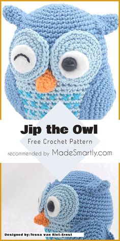 Amigurumi Jip the Owl - Free Crochet Pattern Toys Patterns little cotton rabbits 12 Free Toys and Amigurumi Crochet Patterns You Should Try This Summer Crochet Amigurumi Free Patterns, Crochet Stitches Patterns, Free Crochet, Crochet Afghans, Irish Crochet, Crochet Teddy, Crochet Dolls, Crochet Birds, Crochet Crafts