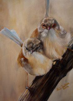 Fairy Wrens - Original Oil Bird Painting by Anne Zoutsos For Sale, painting by artist Anne Zoutsos