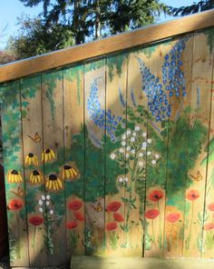 Chicken Coop - Garden mural on chicken coop. Free hand painting with acrylic paint. Building a chicken coop does not have to be tricky nor does it have to set you back a ton of scratch. Garden Fence Art, Garden Mural, Garden Painting, Backyard Fences, Mural Painting, Chickens Backyard, Fence Painting, Yard Art, Chicken Coop Garden